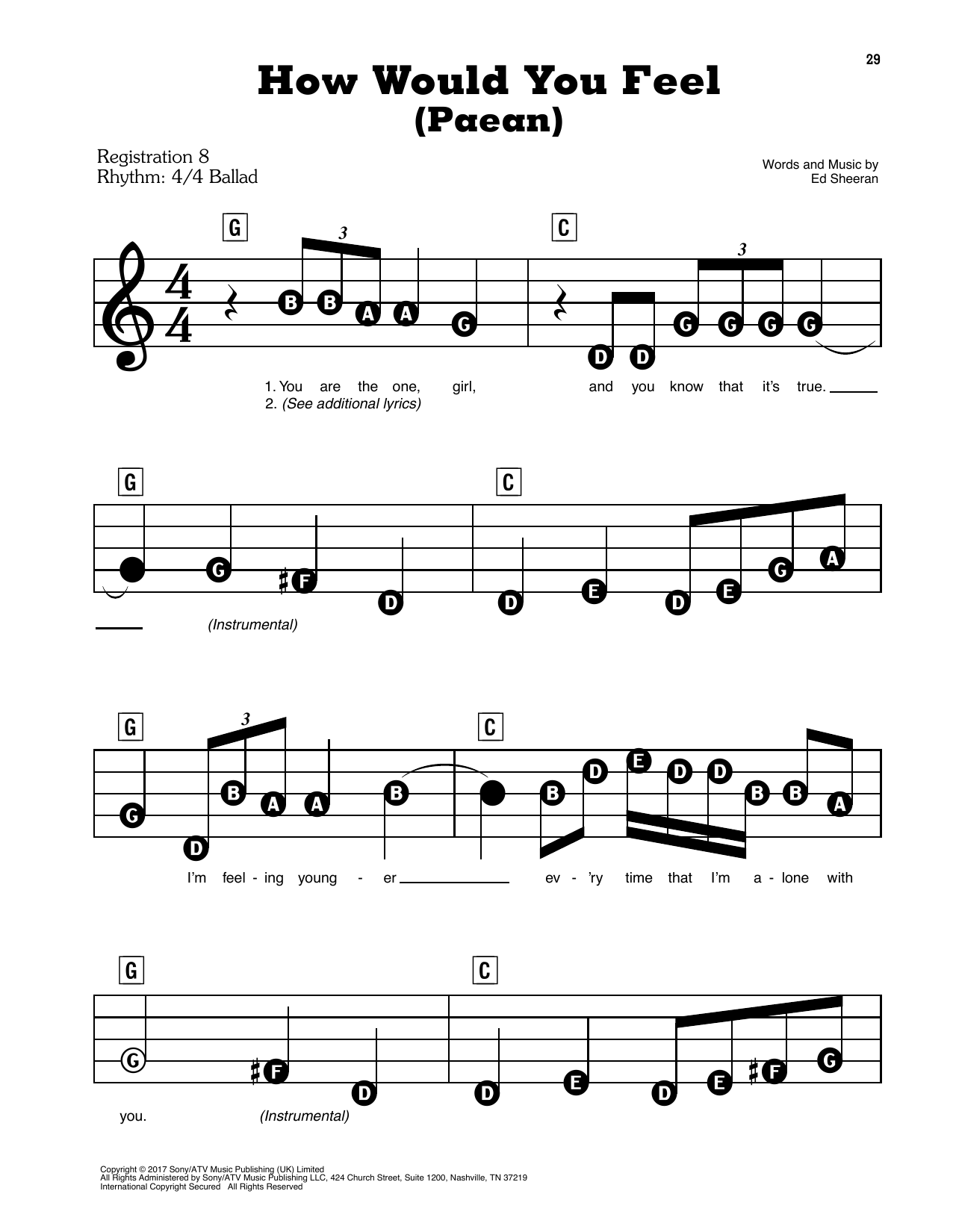 Ed Sheeran How Would You Feel (Paean) sheet music preview music notes and score for E-Z Play Today including 3 page(s)