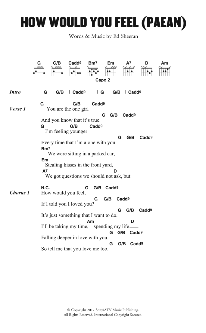 Ed Sheeran How Would You Feel (Paean) sheet music preview music notes and score for Super Easy Piano including 2 page(s)