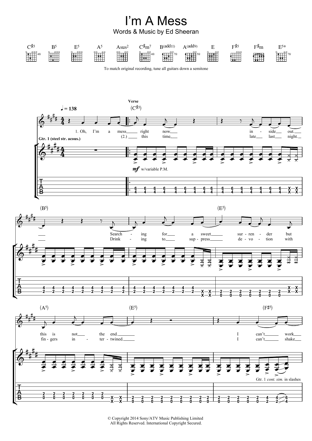 Ed Sheeran I'm A Mess sheet music preview music notes and score for Super Easy Piano including 2 page(s)