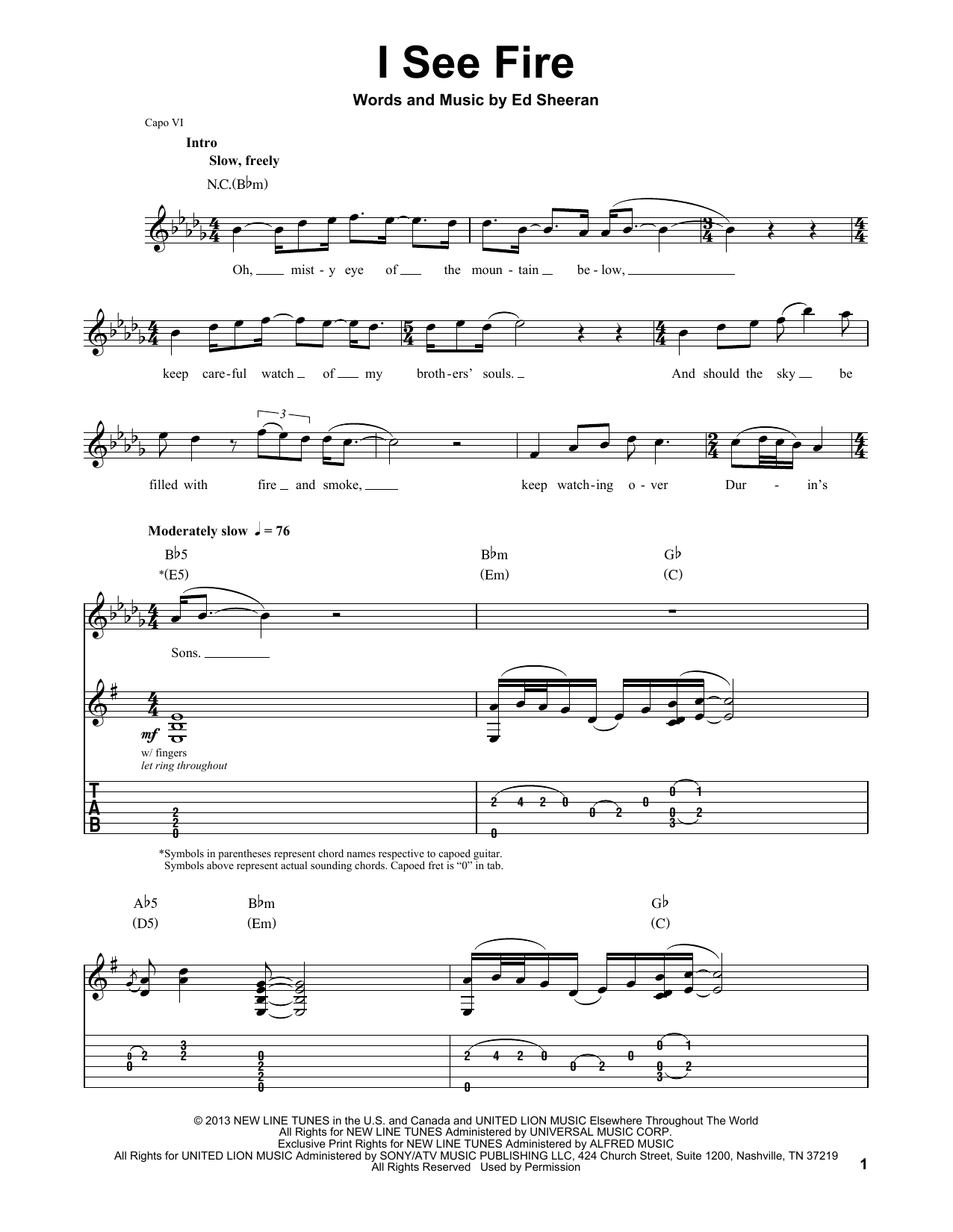 Ed Sheeran I See Fire (from The Hobbit) sheet music preview music notes and score for E-Z Play Today including 8 page(s)