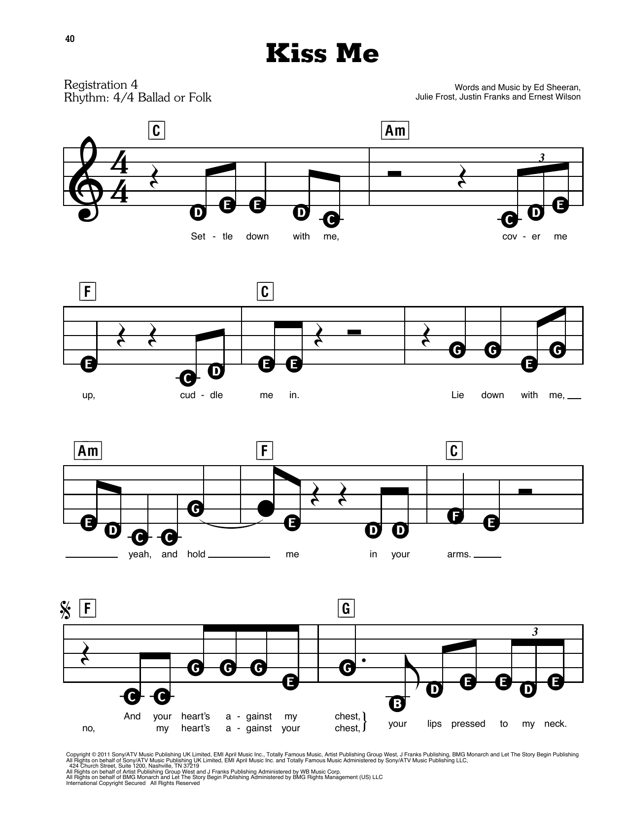Ed Sheeran Kiss Me sheet music preview music notes and score for E-Z Play Today including 4 page(s)