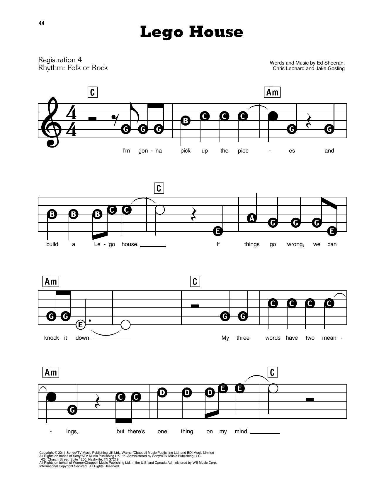 Ed Sheeran Lego House sheet music preview music notes and score for E-Z Play Today including 7 page(s)