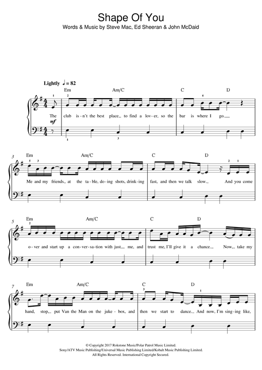 Ed Sheeran Shape Of You sheet music preview music notes and score for Easy Piano including 7 page(s)