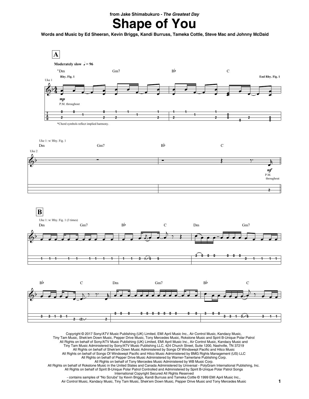 Download Ed Sheeran 'Shape Of You (arr. Jake Shimabukuro)' Digital Sheet Music Notes & Chords and start playing in minutes