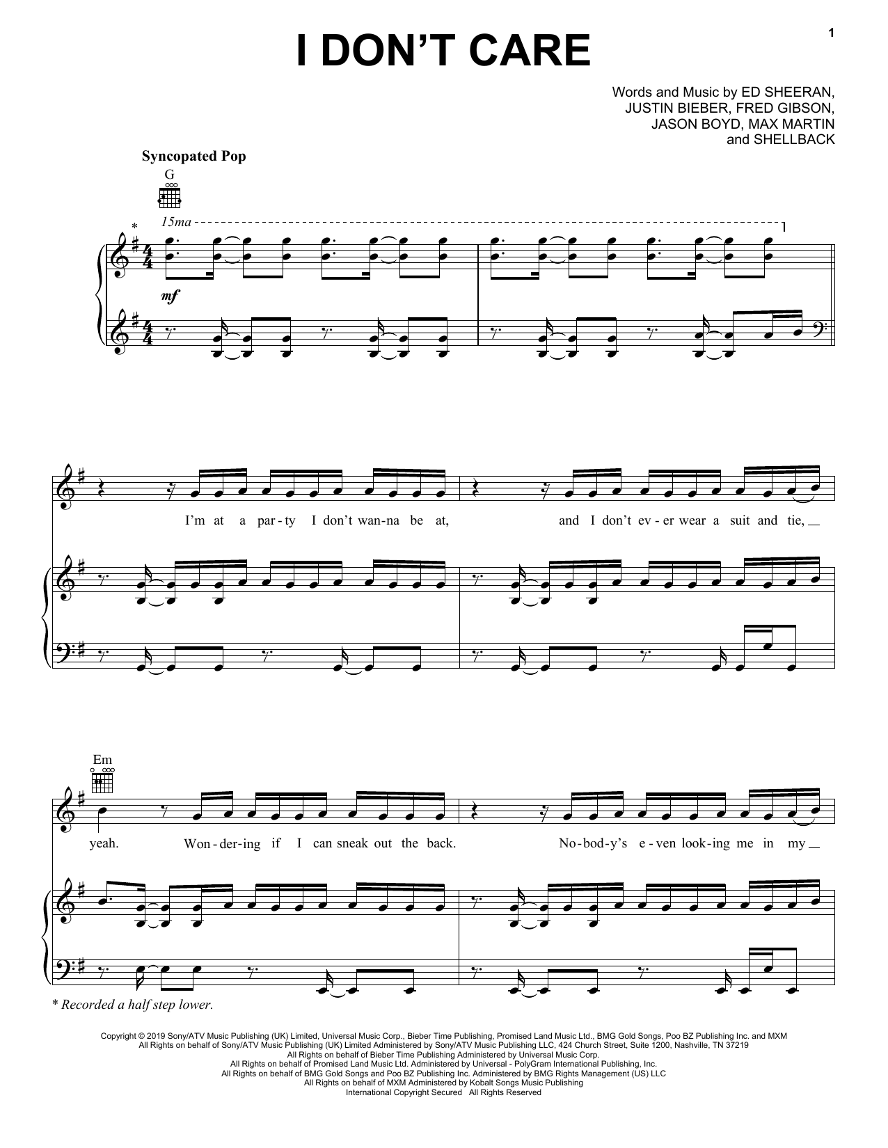 Download Ed Sheeran & Justin Bieber 'I Don't Care' Digital Sheet Music Notes & Chords and start playing in minutes