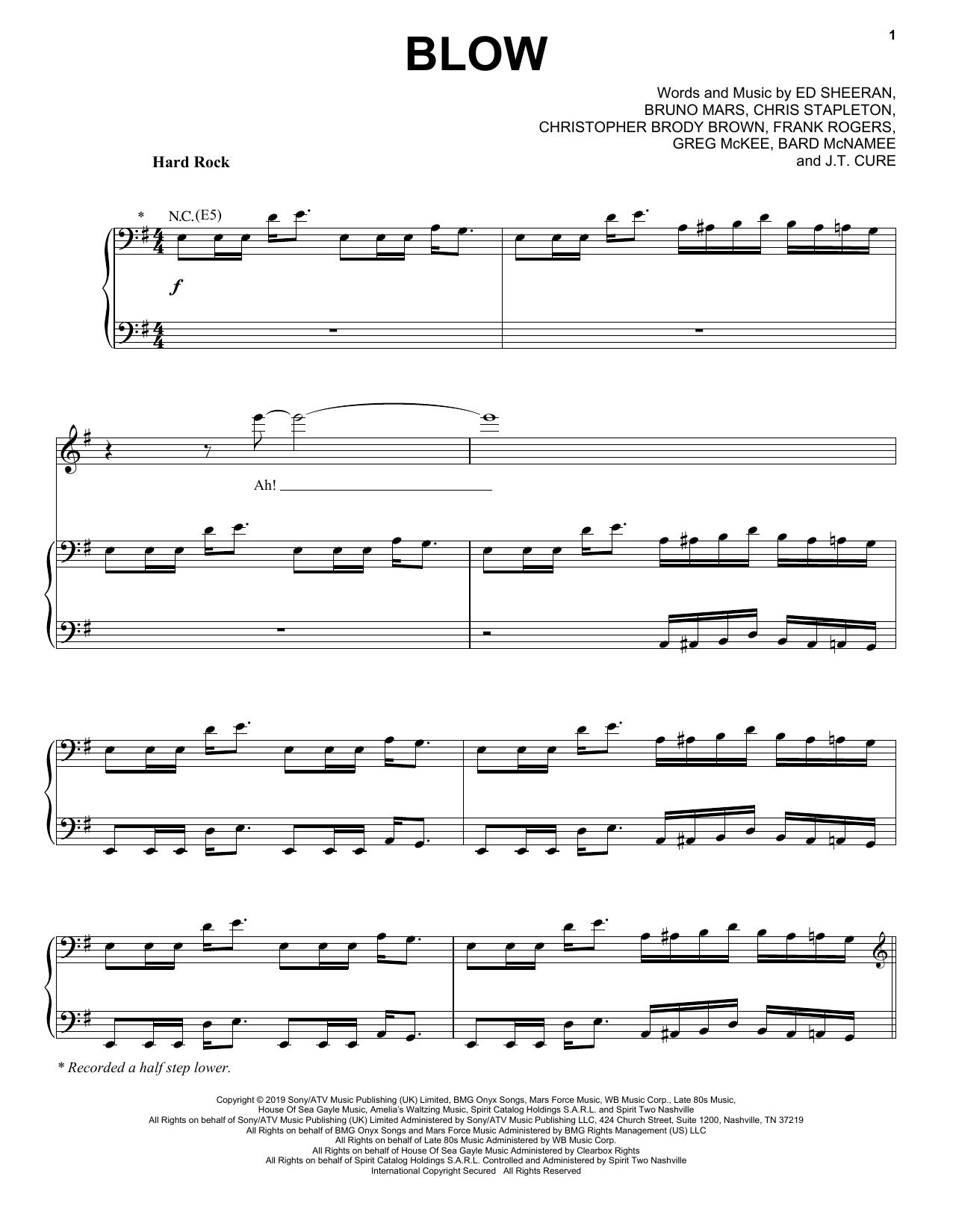 Download Ed Sheeran, Chris Stapleton & Bruno Mars 'BLOW' Digital Sheet Music Notes & Chords and start playing in minutes