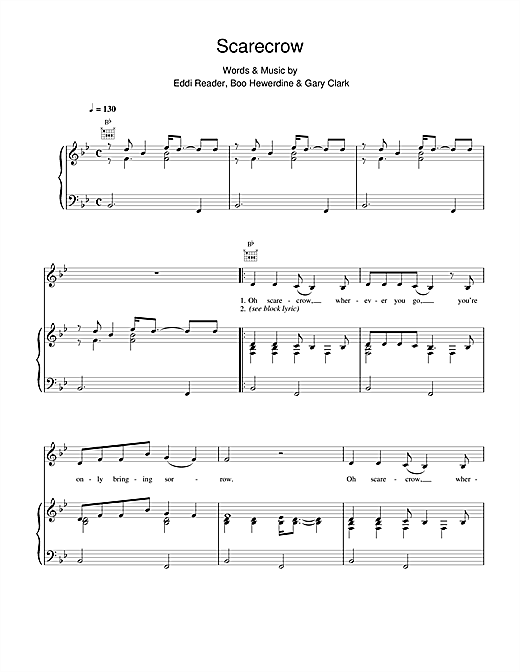 Eddi Reader Scarecrow sheet music notes and chords
