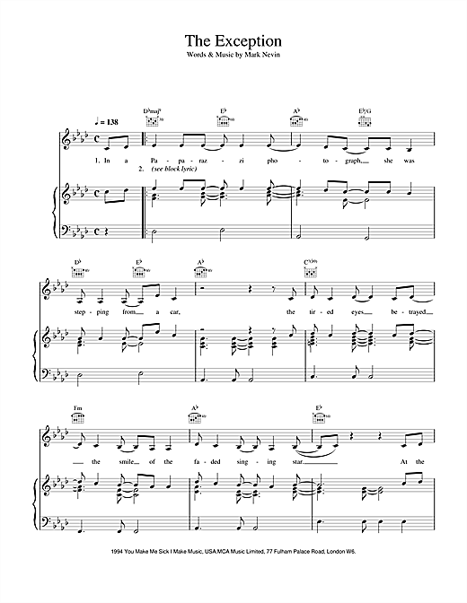 Eddi Reader The Exception sheet music notes and chords