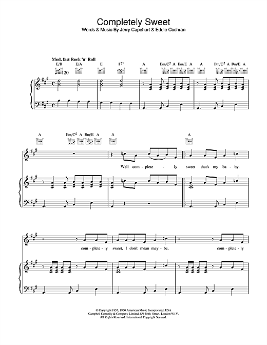Eddie Cochran Completely Sweet sheet music notes and chords