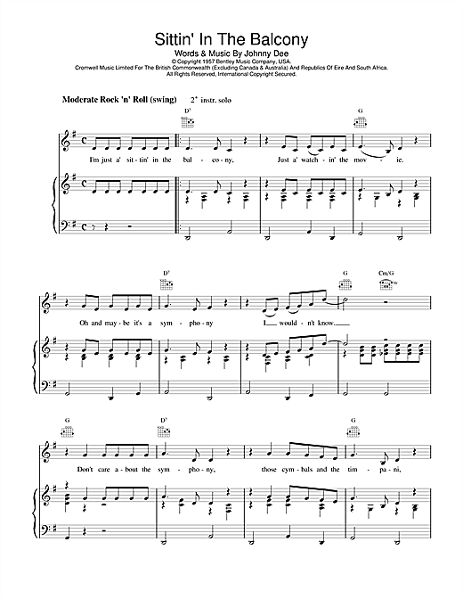 Eddie Cochran Sittin' In The Balcony sheet music notes and chords