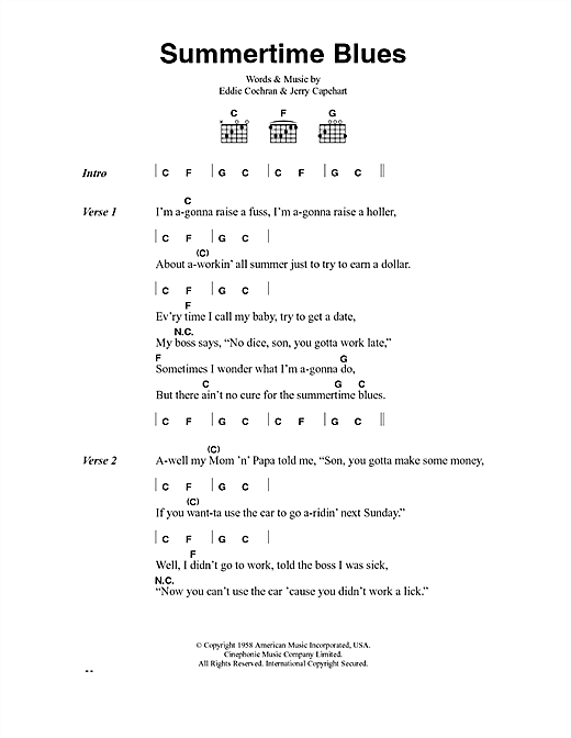 Eddie Cochran Summertime Blues sheet music preview music notes and score for Easy Guitar Tab including 2 page(s)