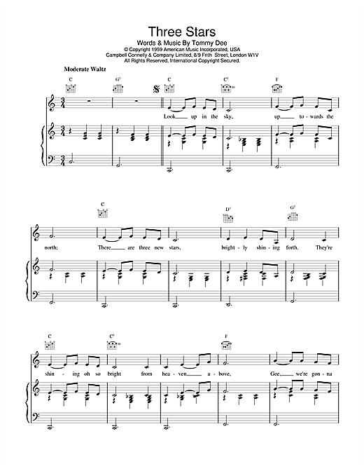 Eddie Cochran Three Stars sheet music notes and chords