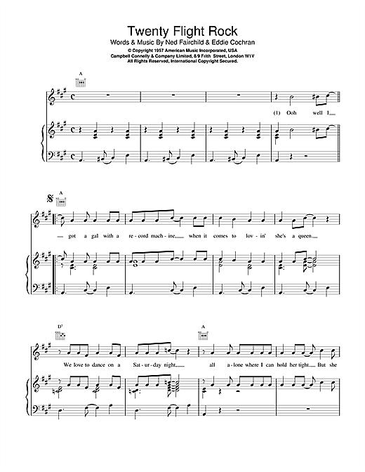 Eddie Cochran Twenty Flight Rock sheet music notes and chords