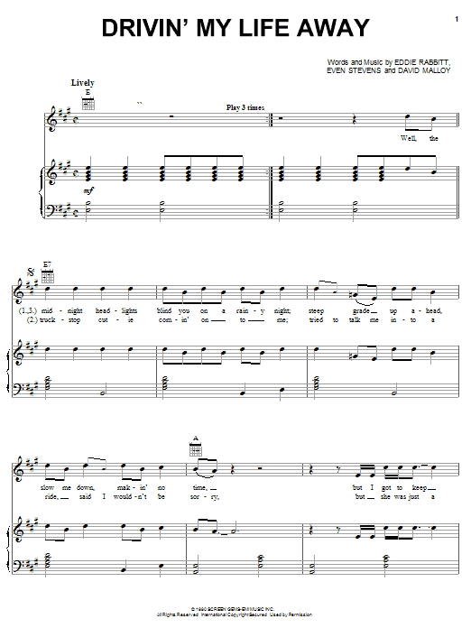 Eddie Rabbitt Drivin' My Life Away sheet music preview music notes and score for Guitar Tab including 8 page(s)