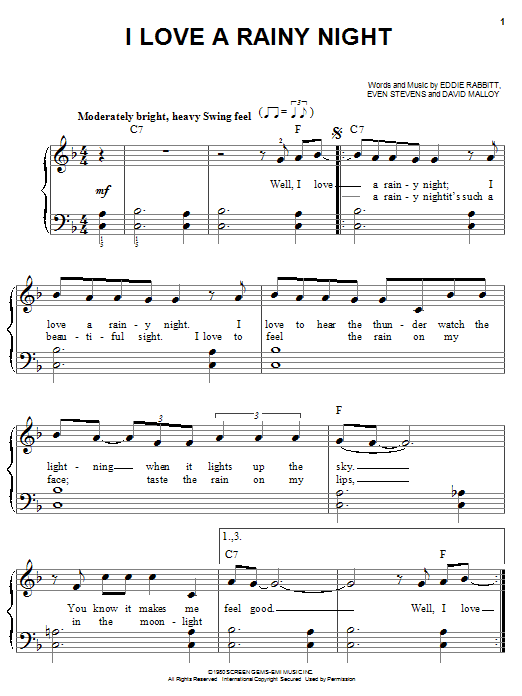 Eddie Rabbitt I Love A Rainy Night sheet music notes and chords
