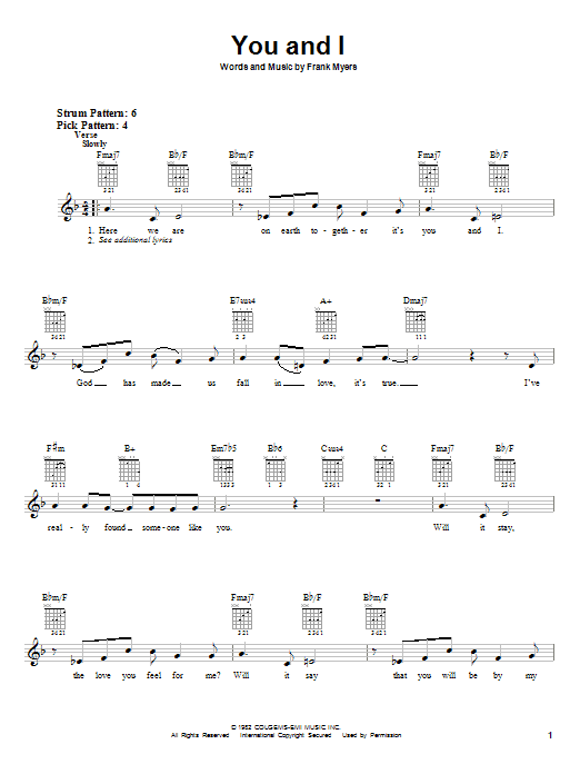 Download Eddie Rabbitt with Crystal Gayle 'You And I' Digital Sheet Music Notes & Chords and start playing in minutes