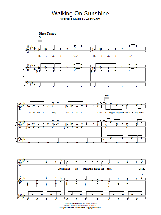 Eddy Grant Walking On Sunshine sheet music preview music notes and score for Piano, Vocal & Guitar (Right-Hand Melody) including 6 page(s)