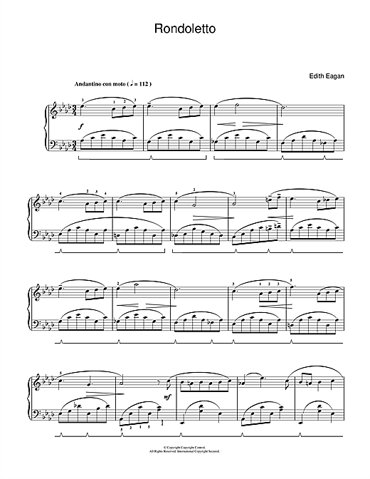Download Edith Eagan 'Rondoletto' Digital Sheet Music Notes & Chords and start playing in minutes
