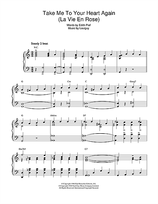 Download Edith Piaf 'Take Me To Your Heart Again (La Vie En Rose)' Digital Sheet Music Notes & Chords and start playing in minutes