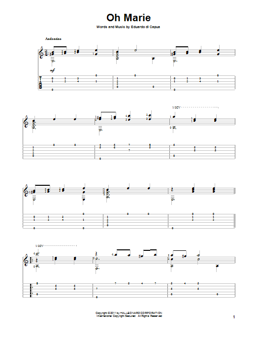 Download Eduardo Di Capua 'Oh Marie' Digital Sheet Music Notes & Chords and start playing in minutes