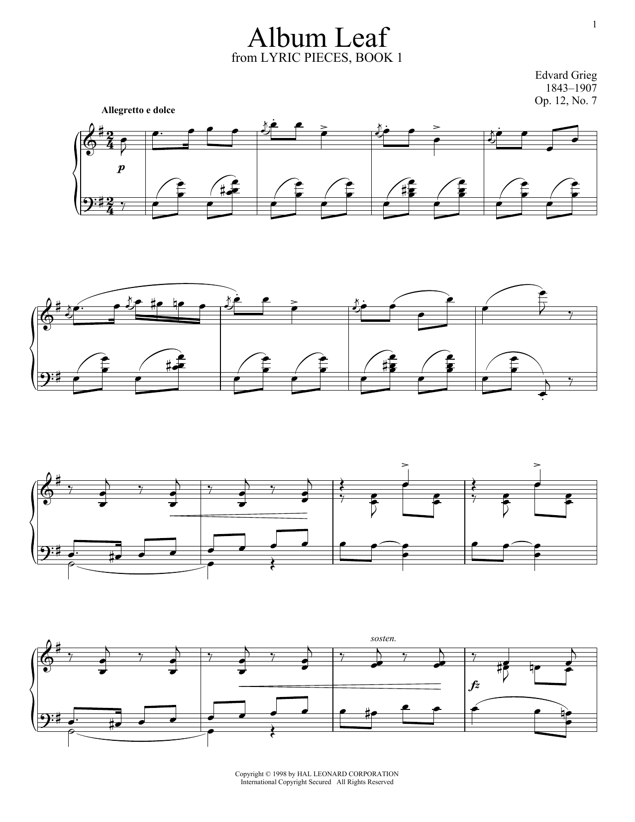 Download Edvard Grieg 'Album Leaf, Op. 12, No. 7' Digital Sheet Music Notes & Chords and start playing in minutes