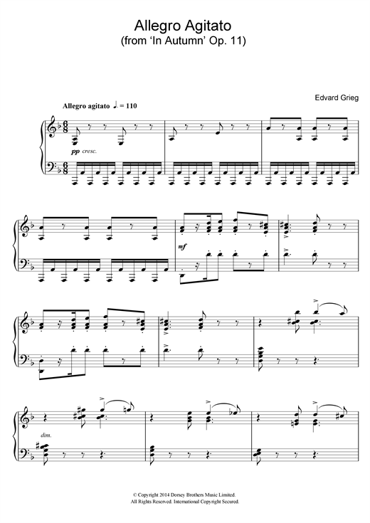Download Edvard Grieg 'Allegro Agitato (from 'In Autumn' Op. 11)' Digital Sheet Music Notes & Chords and start playing in minutes