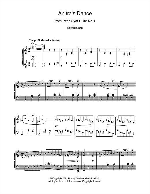 Download Edvard Grieg 'Anitra's Dance (from Peer Gynt)' Digital Sheet Music Notes & Chords and start playing in minutes