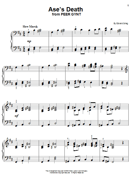Edvard Grieg Ase's Death sheet music notes and chords