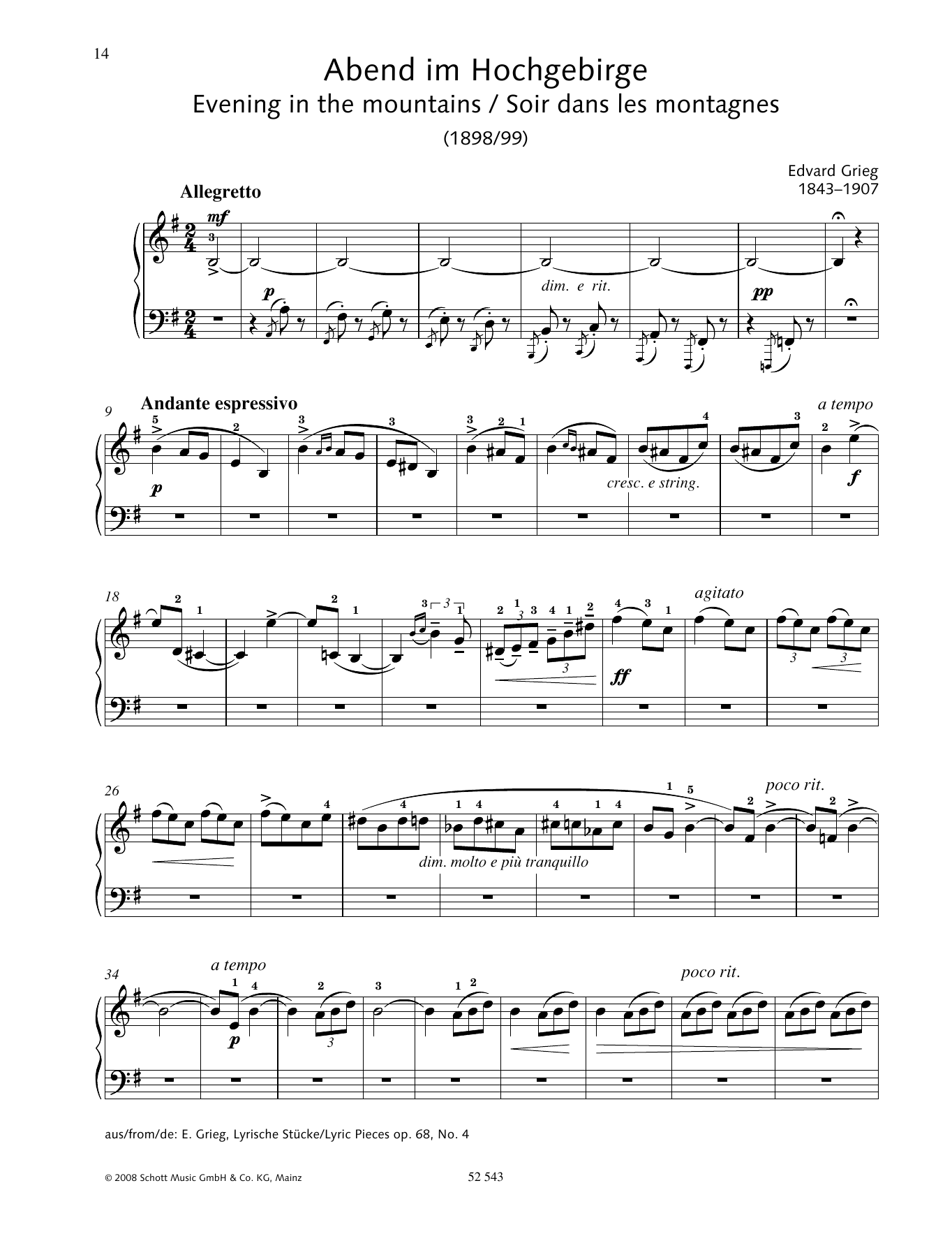 Edvard Grieg Evening in the mountains sheet music preview music notes and score for Piano Solo including 2 page(s)
