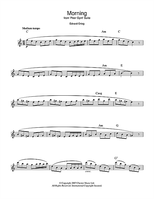 Edvard Grieg Morning (from Peer Gynt Suite No.1) sheet music preview music notes and score for Easy Piano including 2 page(s)