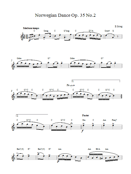 Edvard Grieg Norwegian Dance No. 2 Op. 35 sheet music preview music notes and score for Piano including 3 page(s)