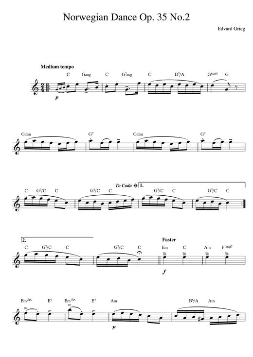 Edvard Grieg Norwegian Dance No. 2 Op. 35 sheet music notes and chords