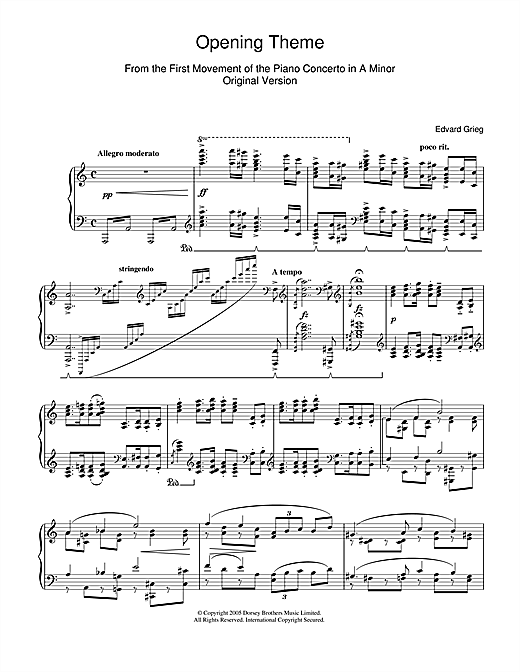 Download Edvard Grieg 'Opening Theme from Piano Concerto in A Minor' Digital Sheet Music Notes & Chords and start playing in minutes