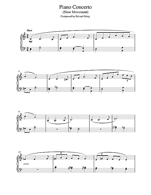 Download Edvard Grieg 'Piano Concerto in G minor (Slow Movement)' Digital Sheet Music Notes & Chords and start playing in minutes
