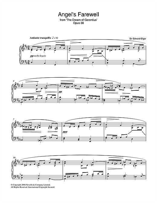Download Edward Elgar 'Angel's Farewell From The Dream Of Gerontius Op.38' Digital Sheet Music Notes & Chords and start playing in minutes