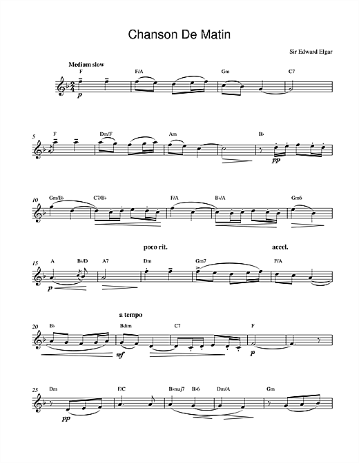 Download Edward Elgar 'Chanson De Matin Opus 15, No. 2' Digital Sheet Music Notes & Chords and start playing in minutes