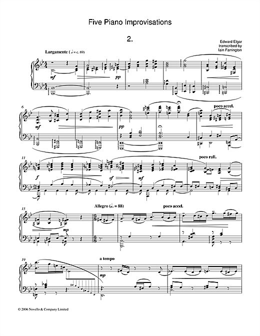 Download Edward Elgar 'Five Piano Improvisations: 2. Largamente' Digital Sheet Music Notes & Chords and start playing in minutes