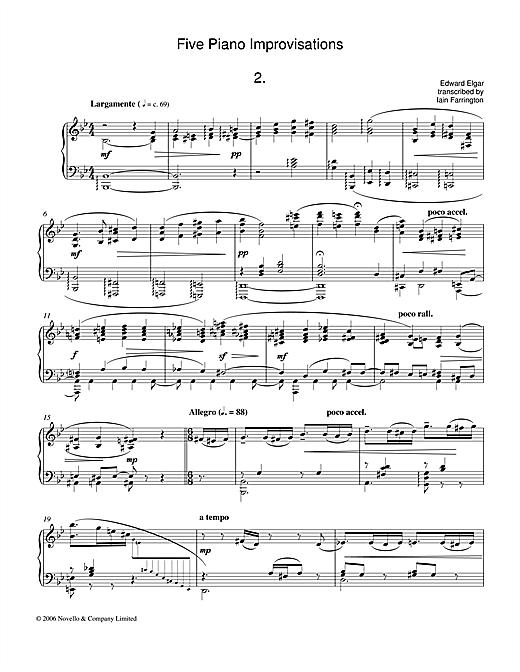 Edward Elgar Five Piano Improvisations: 2. Largamente sheet music notes and chords