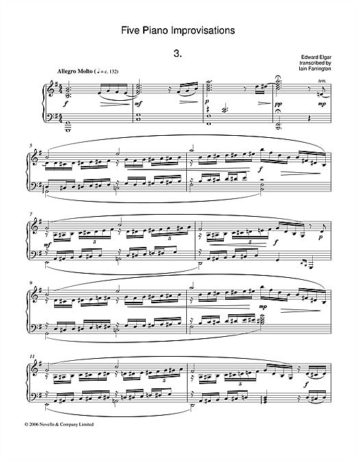 Download Edward Elgar 'Five Piano Improvisations: 3. Allegro Molto' Digital Sheet Music Notes & Chords and start playing in minutes