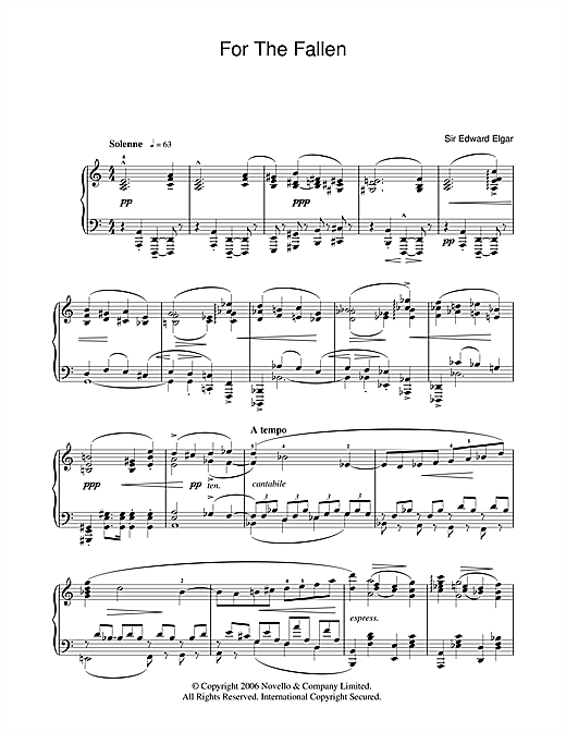 Download Edward Elgar 'For The Fallen from The Spirit Of England Op. 80' Digital Sheet Music Notes & Chords and start playing in minutes