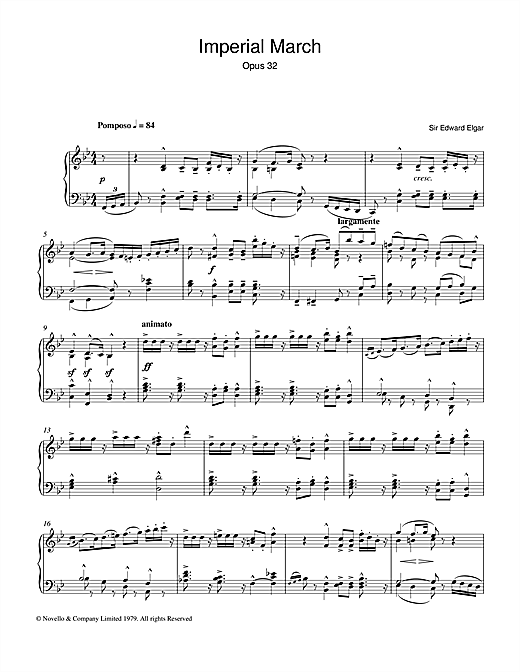 Download Edward Elgar 'Imperial March Op. 32' Digital Sheet Music Notes & Chords and start playing in minutes