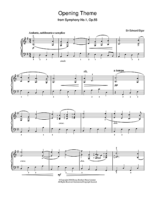Download Edward Elgar 'Opening Theme from Symphony No.1, Op.55' Digital Sheet Music Notes & Chords and start playing in minutes