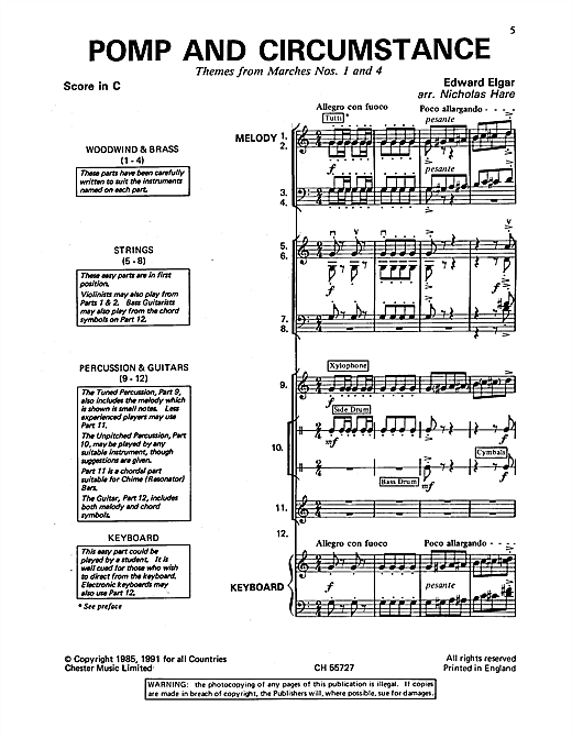 Download Edward Elgar 'Pomp And Circumstance (Themes From Marches Nos. 1 And 4)' Digital Sheet Music Notes & Chords and start playing in minutes