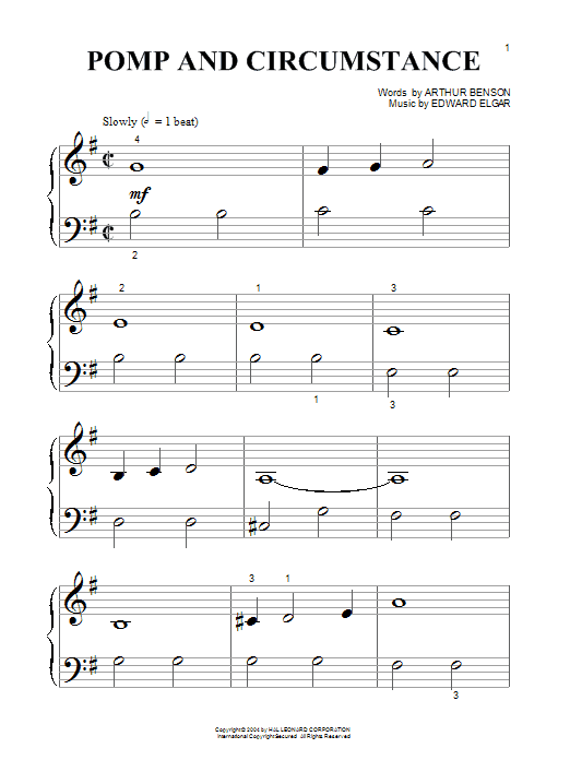 Edward Elgar Pomp And Circumstance March No.1 sheet music preview music notes and score for Piano (Big Notes) including 3 page(s)
