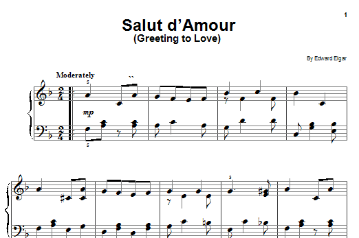 Edward Elgar Salut D'amour (Greeting To Love) sheet music preview music notes and score for Easy Piano including 1 page(s)