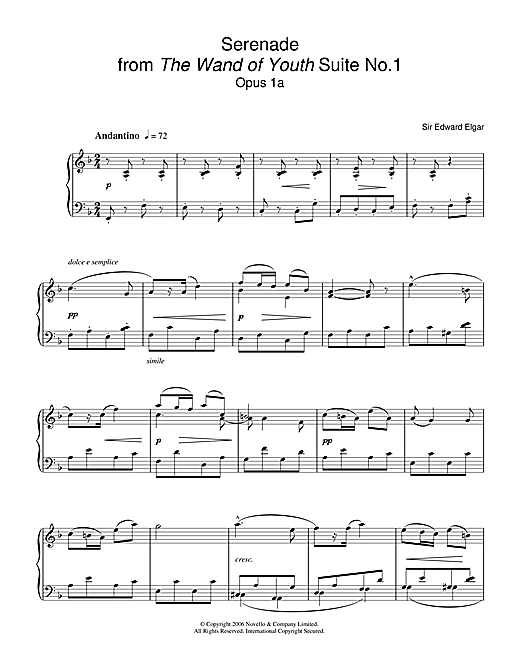 Download Edward Elgar 'Serenade From The Wand Of Youth Suite No 1 Op 1a' Digital Sheet Music Notes & Chords and start playing in minutes