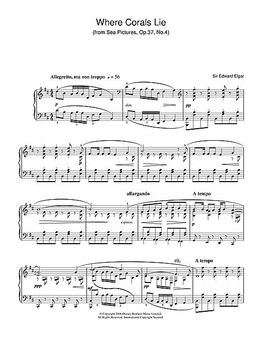 Edward Elgar Where Corals Lie (from Sea Pictures, Op.37, No.4) sheet music notes and chords