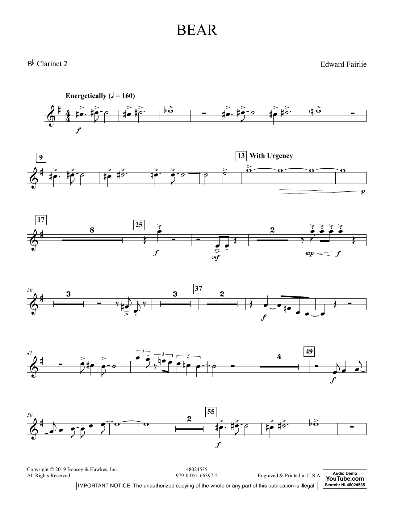 Edward Fairlie Bear - Bb Clarinet 2 sheet music preview music notes and score for Concert Band including 2 page(s)