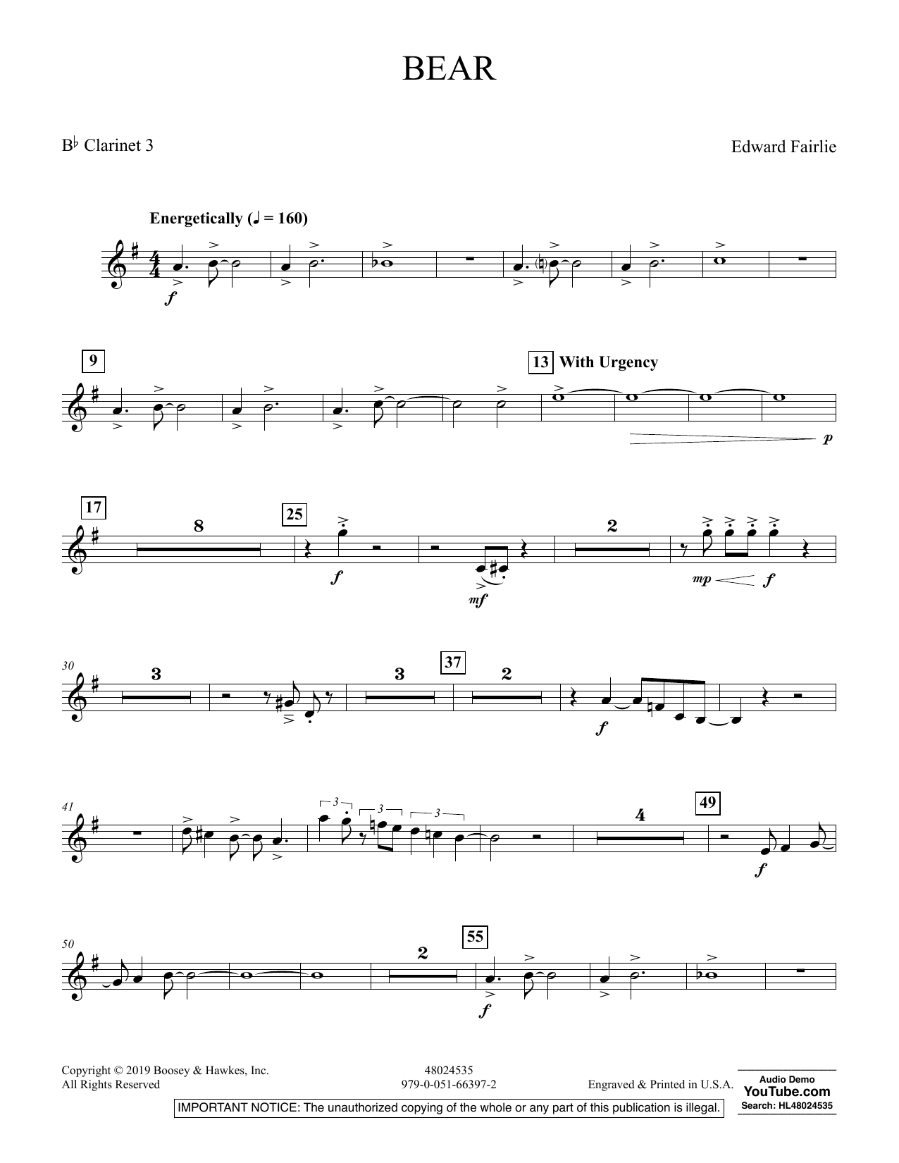 Edward Fairlie Bear - Bb Clarinet 3 sheet music preview music notes and score for Concert Band including 2 page(s)