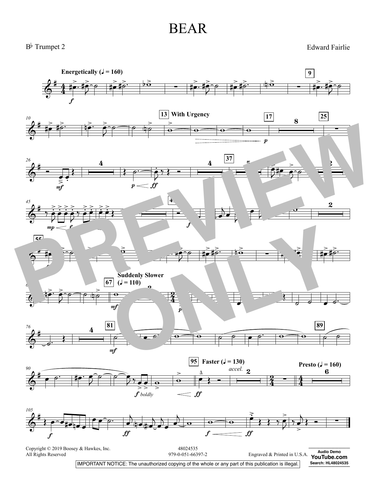 Edward Fairlie Bear - Bb Trumpet 2 sheet music preview music notes and score for Concert Band including 1 page(s)